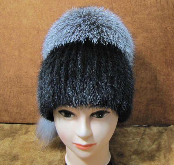 Меховая Женская Шапка из Норки с BlueFrost М-003-Н