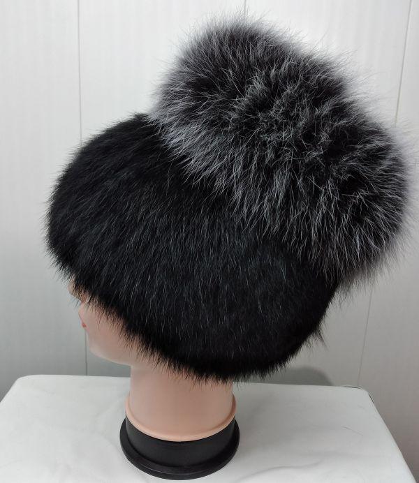 Меховая женская шапка из кролика с песцом М-011-К