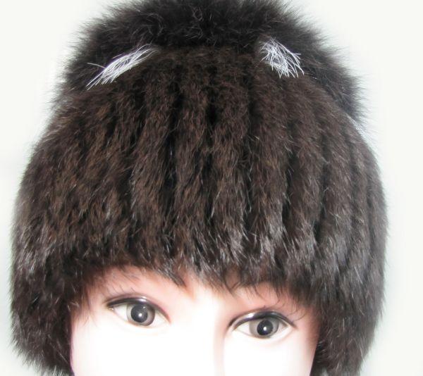 Меховая женская шапка из кролика с песцом М-006-К