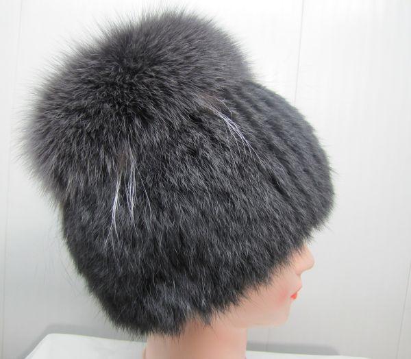 Меховая женская шапка из кролика с песцом М-009-К