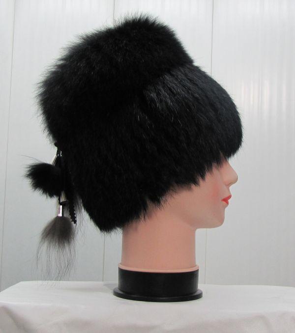 Меховая женская шапка из кролика с песцом М-010-К