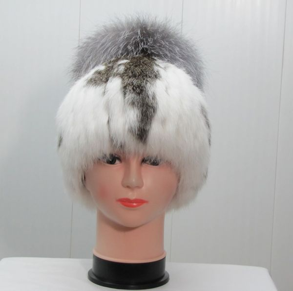 Меховая женская шапка из кроля с чернобуркой М-004-К