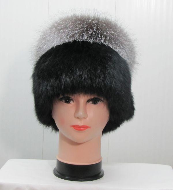 Меховая женская шапка из кроля с BlueFrost М-012-К