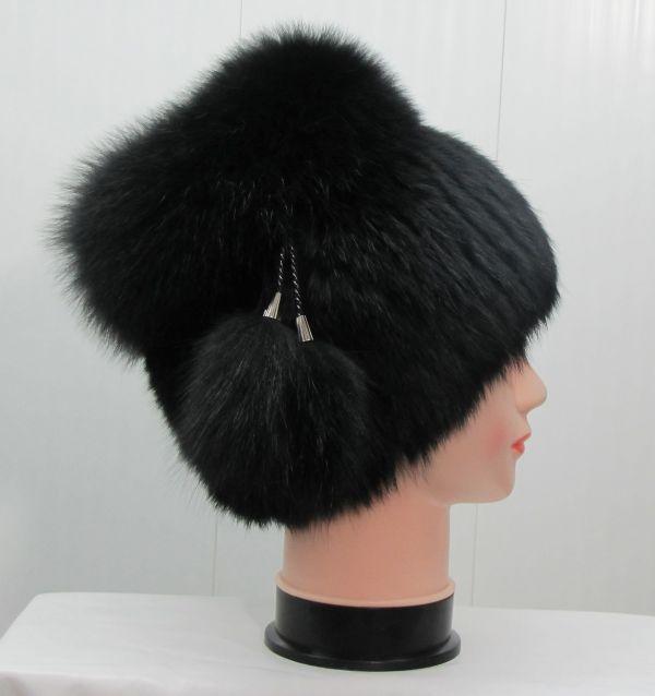 Меховая женская шапка из кроля с песцом М-001-К