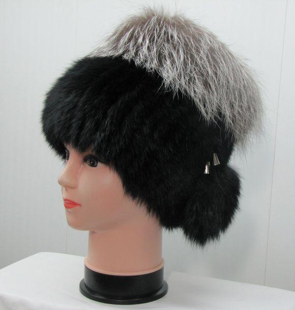 Меховая женская шапка из кроля с чернобуркой М-013-К