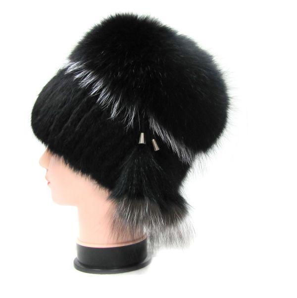 Меховая женская шапка из кроля с песцом и чернобурки М-003-К