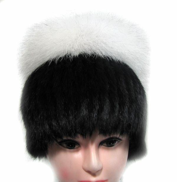Меховая женская шапка из кролика с песцом М-005-К