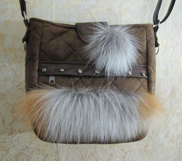 Женская сумочка с мехом МС-001